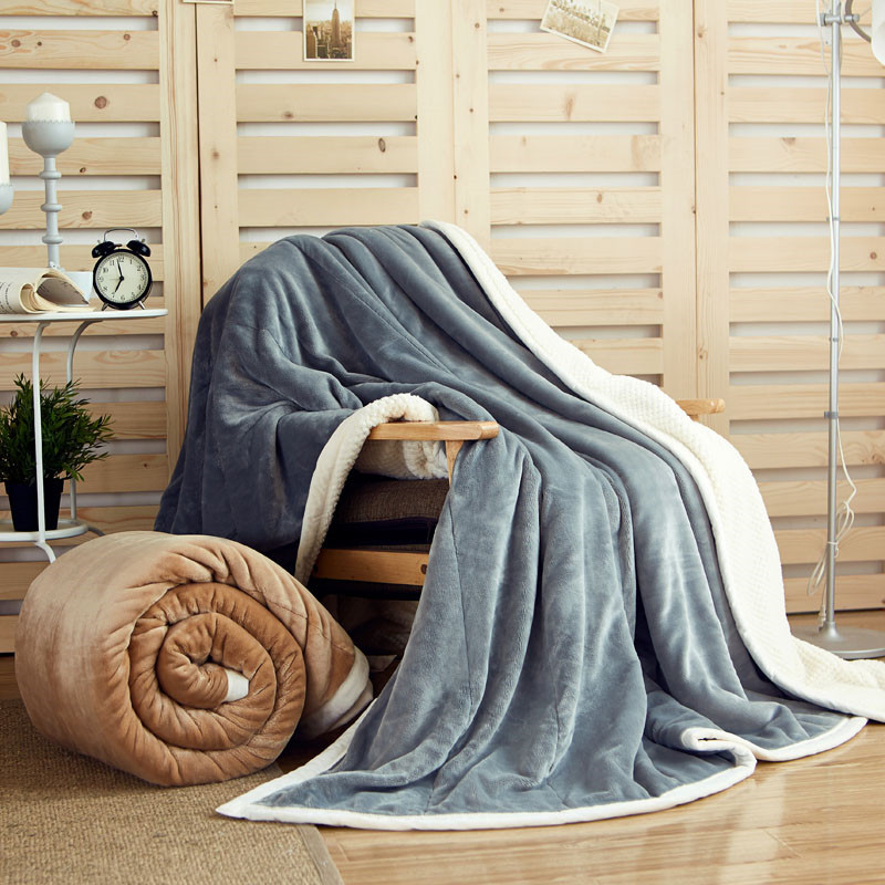 1 PCS 150*200CM Blankets Double Layer Thicker Flannel Solid Color Soft Warm Blanket For Beds Home Sofa Car Portable Blankets V20 zhh warm soft fleece strip blankets double layer thick plush throw on sofa bed plane plaids solid bedspreads home textile 1pc