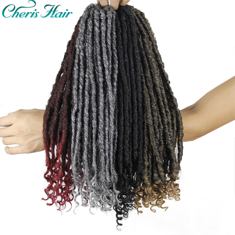 Cheap Sale Dindong Synthetic Goddess Faux Locks Curly Ends Crochet Braids Hair Locs Black Brown 18 Inch 24 Strands Braiding Hair Extensions Curly Dreadlocs Hair Braids