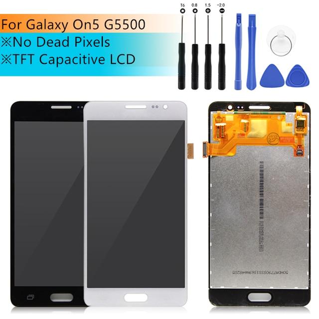 Para Samsung Galaxy G550T G5500 G550FY On5 LCD Screen Display Touch com Digitador Frente Vidro peças de Montagem de Peças de Reposição