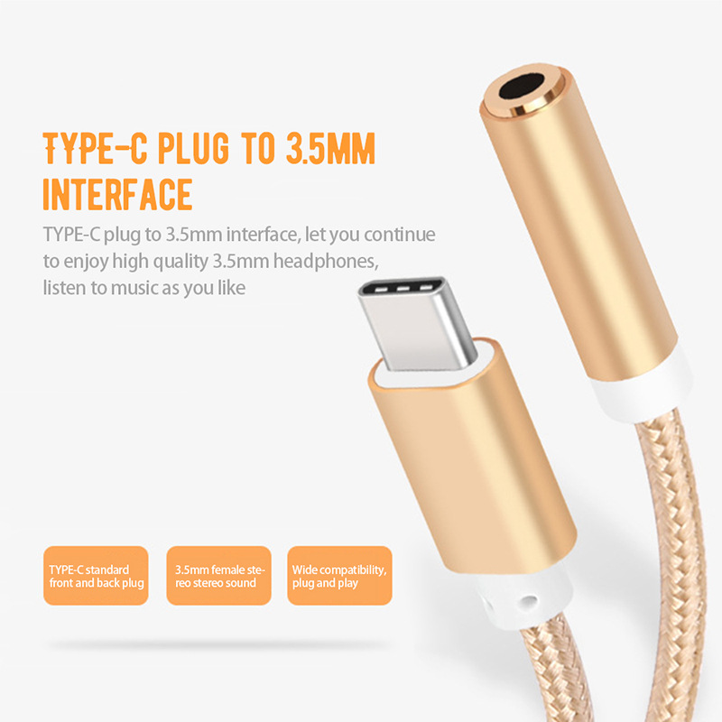 Type-C To 3.5mm Earphone Headset Cable AUX Jack Adapter USB C Audio Cable Adapter For Xiaomi Mi8 Pocophone F1 For Huawei P20 Pro