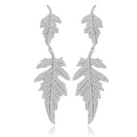 Fashion Double Leaf Long Women Drop Earrings Micro Paved Tiny Cubic Zircon Crystal Bridal Wedding Party
