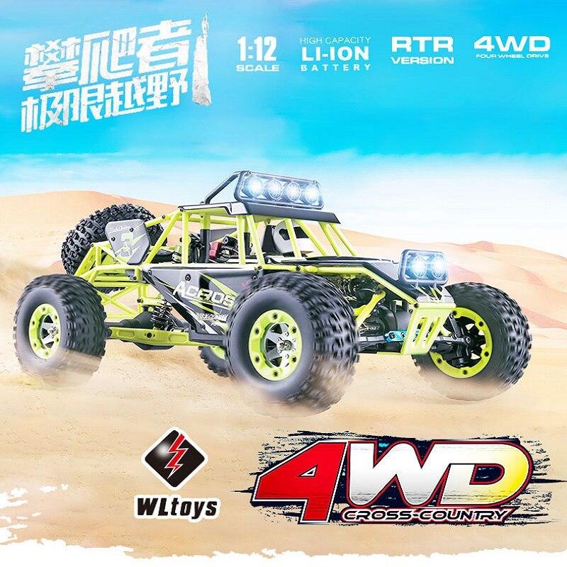 WLtoys RC voitures 12428 haute vitesse 50 km/h voitures de course rapide monstre camion quatre roues motrices Rock chenille électrique RC véhicule tout-terrain