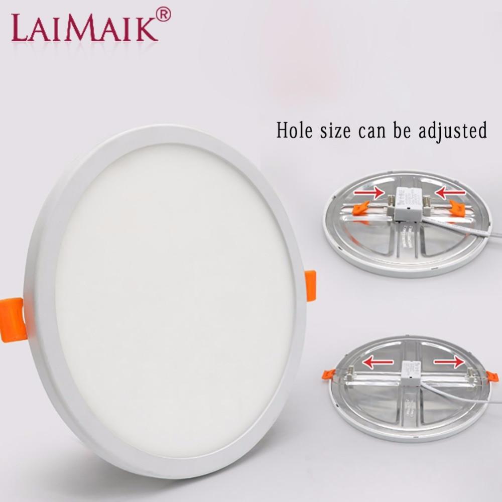 LAIMAIK LED Panel luz AC220V Ultra fino 6 W 8 W 15 W 20 W aluminio LED luz de techo ahuecada downlight agujero abierto Ajustable