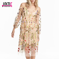Jastie Vintage Floral Embroidered Women Dress V Neck Long Sleeve Tulle Bohe Dress Casual Beach Vestido Party Dresses with Lining