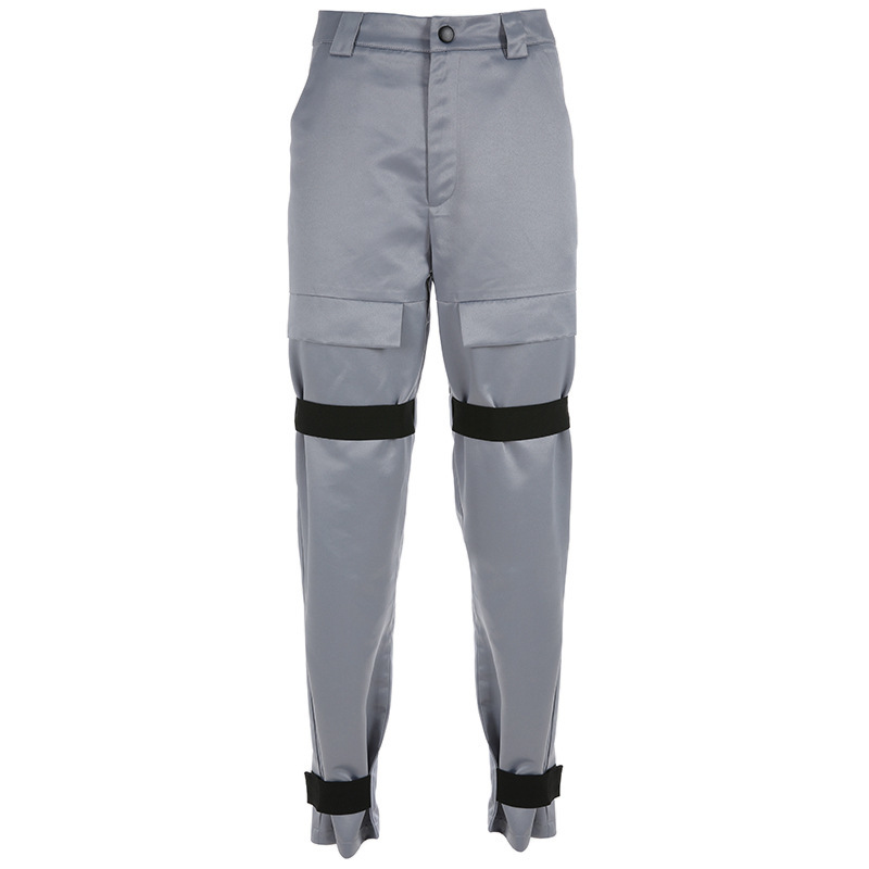 2019 Streetwear Cargo   Pants   Women Casual Joggers Gray High Waist Loose Female Trousers Korean Style Ladies   Pants     Capri   XM497