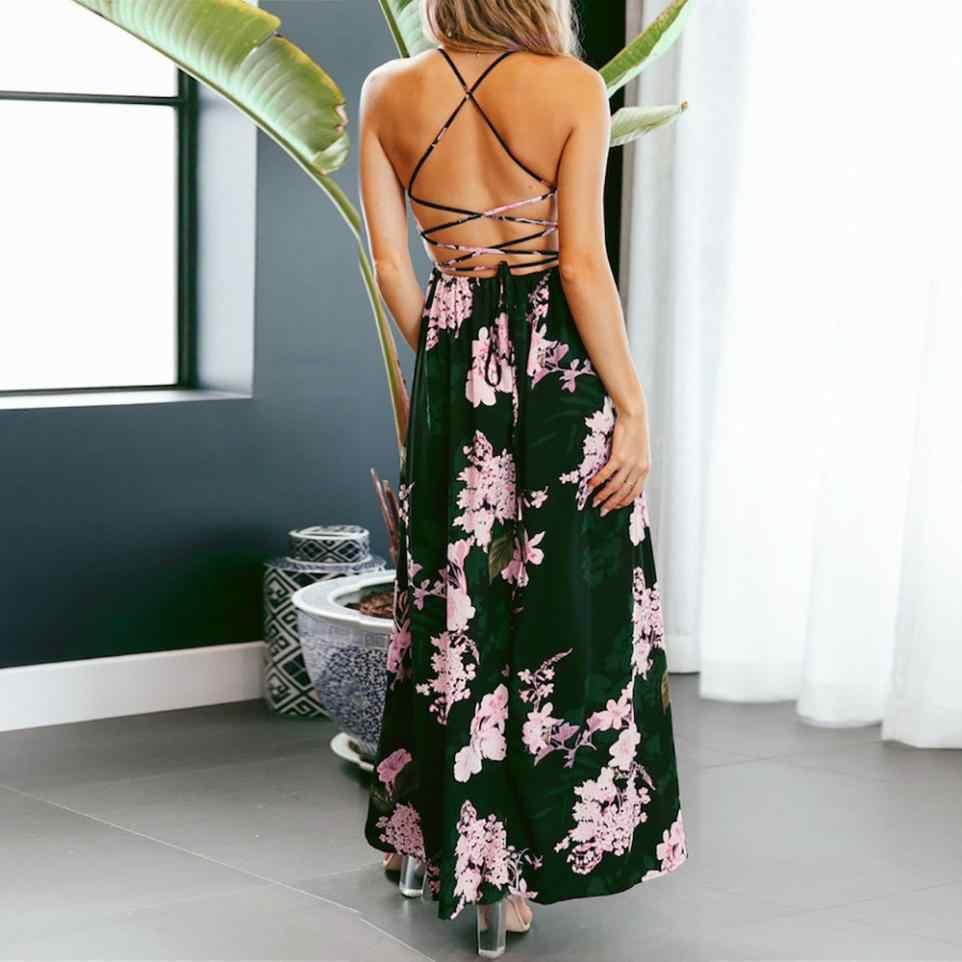 64e88cda2e ... Sexy Cross Strap Backless Dress Women V-neck Boho Floral Printed Maxi  Long Beach Dress ...