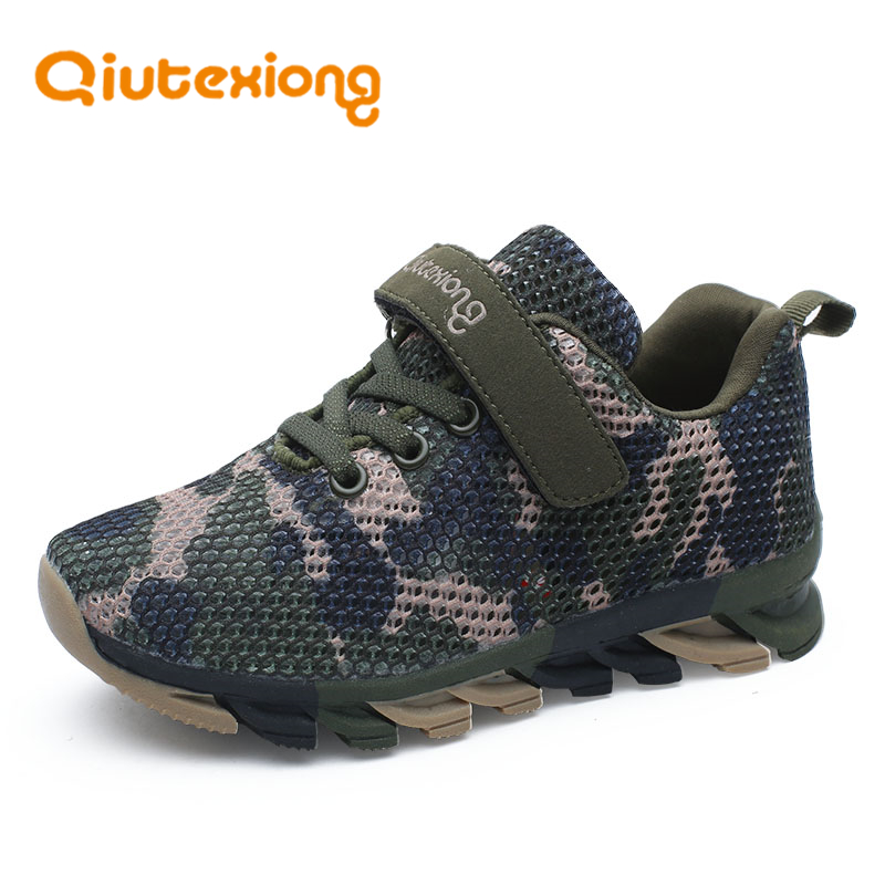 QIUTEXIONG Kids Sport Shoes Boys Sneakers Girls Casual Shoes Camouflage Running Student Trainer Comfortable Breathable Mesh Vamp