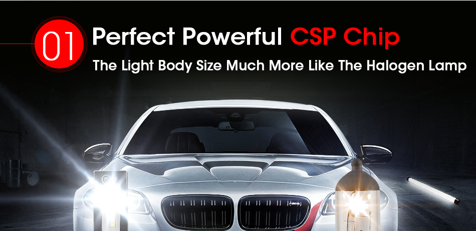 HLXG 2Pcs 9000LM H4 led 4300K Yellowish CSP Chips H11 H8 LED H7 H1 H3 52W 9000LMset 9005 HB3 9006 HB4 Bulbs Car Headlight 6000K (3)