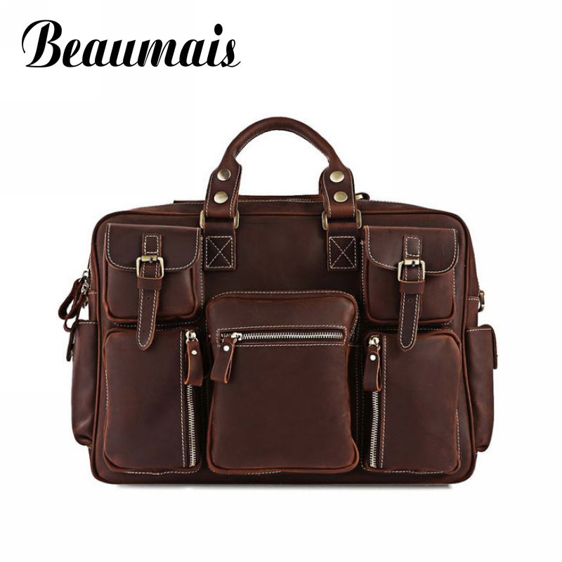 Beaumais100% the first layer of cow leather men messenger bags briefcase business bag genuine leather bag men crossbody AA753