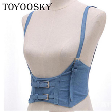 New Sexy Women Push Up Bust Strap Harness Corset belts Casual denim Wide belt Lady Suspender accessories Elastic Belt
