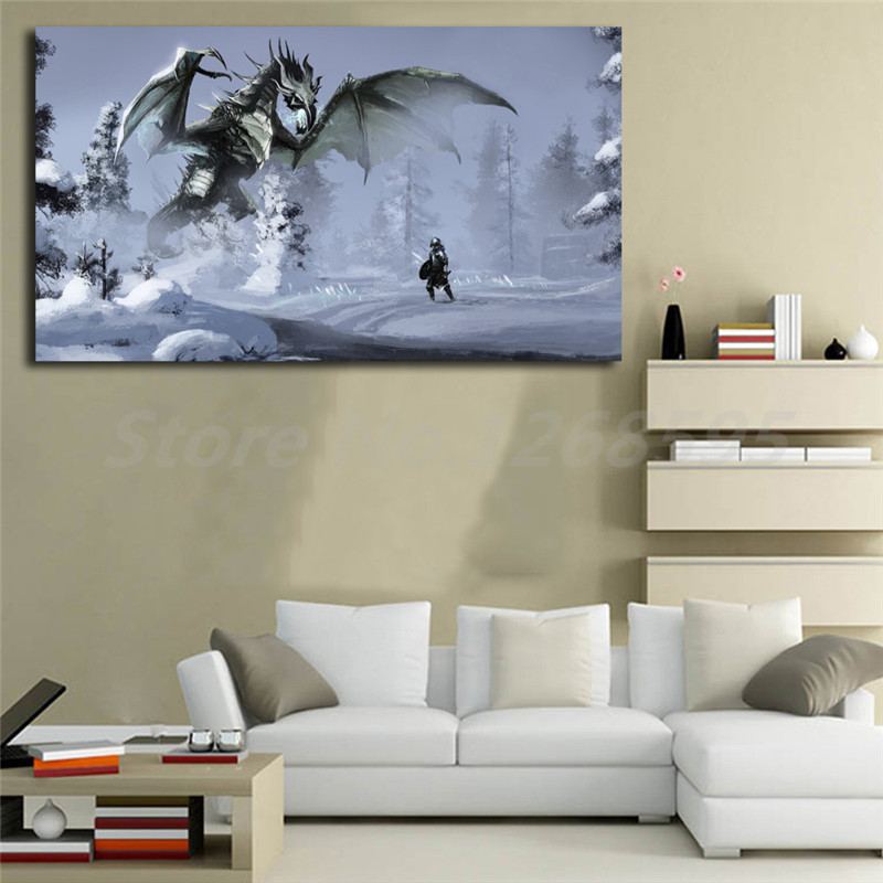 Skyrim Snow Dragon Warrior Wall Art Canvas Posters Prints