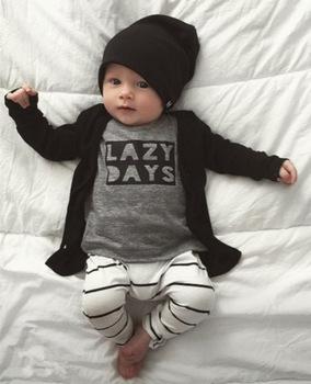 2018 jesień Baby Boy Odzież Baby Odzież zestaw moda bawełna z długim rękawem litera T-shirt + spodnie noworodek Baby Girl Odzież Set tanie i dobre opinie Dziecko Sets Regularne Unisex O-Neck Vest Nowość Pełne EGHUNOOY Przykryty przycisk Czesankowa Drukowania Pasuje do rozmiaru Weź swój normalny rozmiar