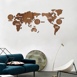 Image 5 - Creative World Map Wall Clock Wooden Large Wood Watch Wall Clock Modern European Style Round Mute relogio de parede