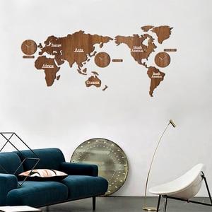 Image 5 - Kreative Welt Karte Wanduhr Holz Große Holz Uhr Wanduhr Modernen Europäischen Stil Runde Stumm relogio de parede