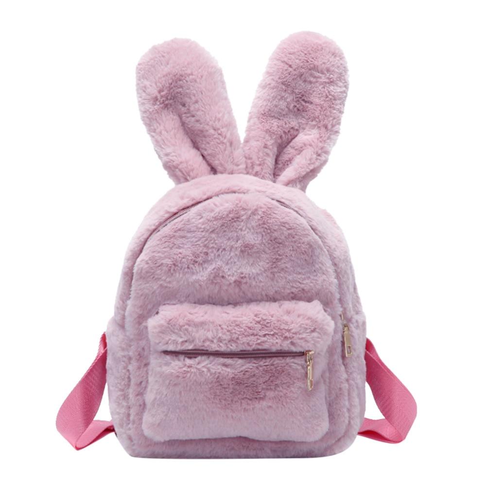 Backpacks Cute Solid Faux Fur Backpack Girls Rabbit Shape Backpacks Winter Soft Female Mini Plush Rucksack Women Rucksack Mochila Feminina