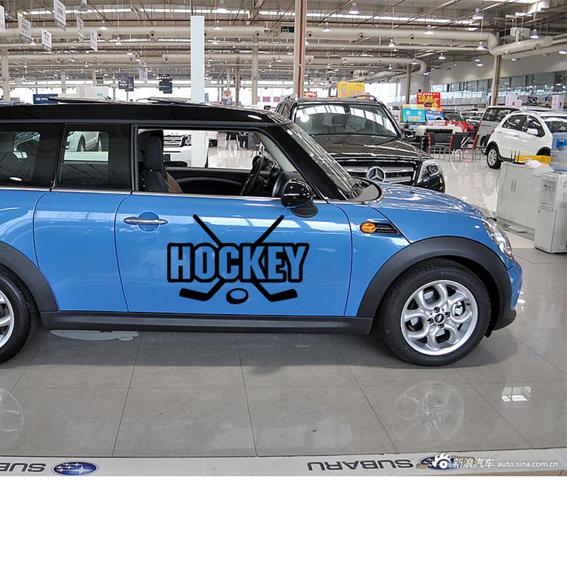 58cm x 29cm  2 x Hockey Sticks Puck Sports Funny Graphical (one For Each Side) Car Sticker For Truck Door Vinyl Decal 9 Colors 58cm x 25 38cm 2 x ice hockey player sports graphic one for each side car sticker for truck door side vinyl decal 8 colors