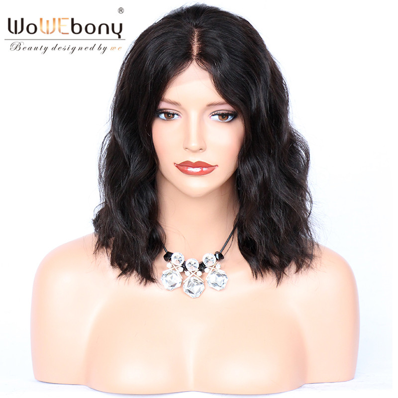 WoWEbony 100% Human Indian Remy Hair Loose Wave Short Bob Lace Front Wigs With Baby Hair Middle Part [LFW05]