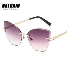 NALOAIN Sunglasses Women Oversized Cat Eye Luxury Brand Designer Vintage Sun Glasses Metal Frame