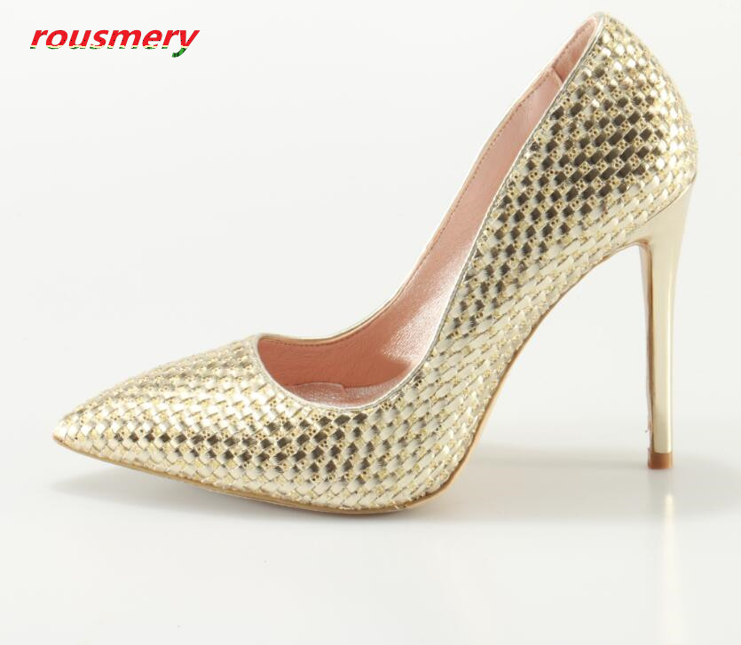 Rousmery High Quality 2017 Pointed Toe Slip-on Woman Pumps Bling Bling Glitter Stiletto High Heels Dress Wedding Shoes Woman
