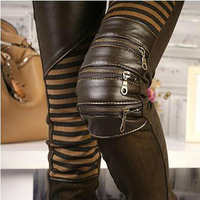 2017 PU leather pants tight stitching Cotton Flax pencil pants trousers jeans thin boots European zipper hole pants women A317