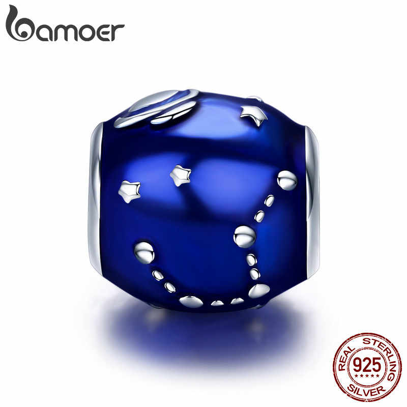 BAMOER Authentic 100% 925 Sterling Silver Galaxy Star & Moon Blue Enamel Charm Beads fit Original Bracelet DIY Jewelry SCC444