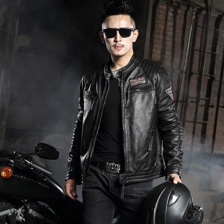 En cuir en cuir court Mince Harley moto en cuir veste col première couche en cuir hommes marée de veste