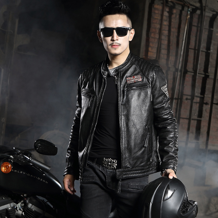 Leather leather short Slim Harley motorcycle leather jacket collar first layer leather men's tide jacket