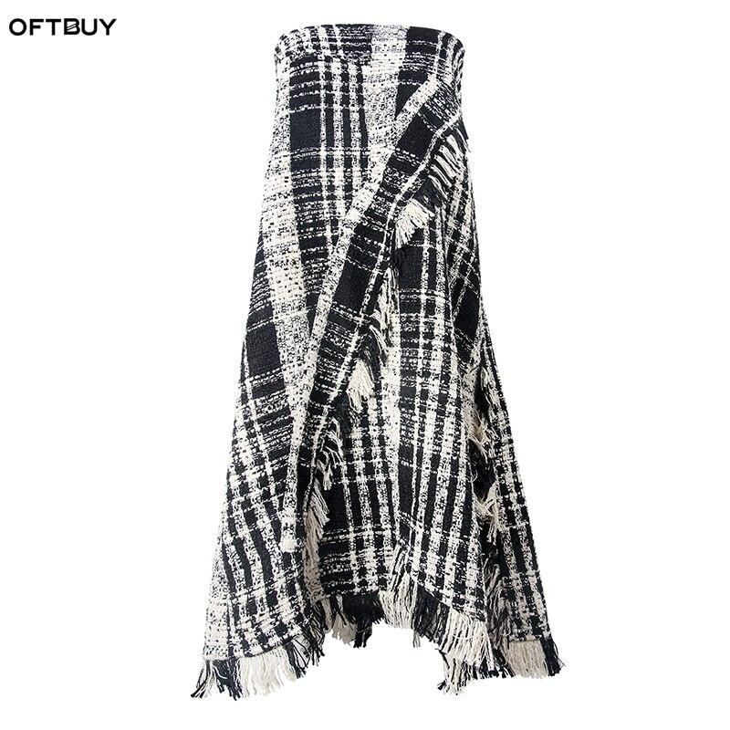 OFTBUY marque 2019 nouveau streetwear gothique mode Plaid gland taille haute Slim jupe automne hiver asymétrique longues jupes femmes