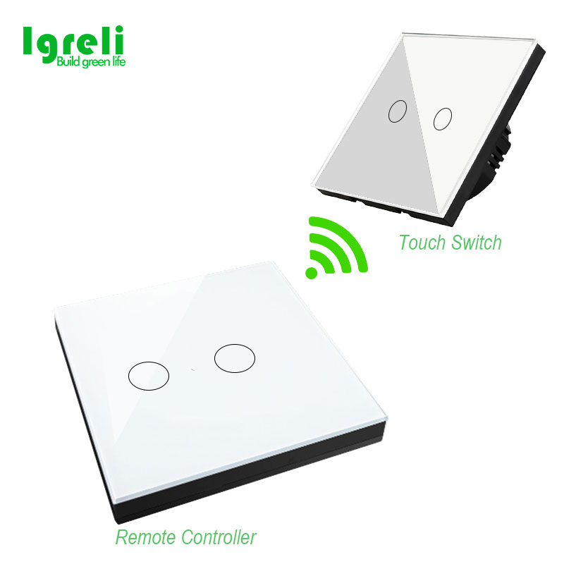 Igreli Eu Standard Smart Touch Panel Glass Wall Light Switch And 433 Mhz Sticker Touch Remote Control,white Switches Ac 220v igreli new touch switch wireless remote control for intelligent wall free sticker switches free wiring to receive rf433 signals