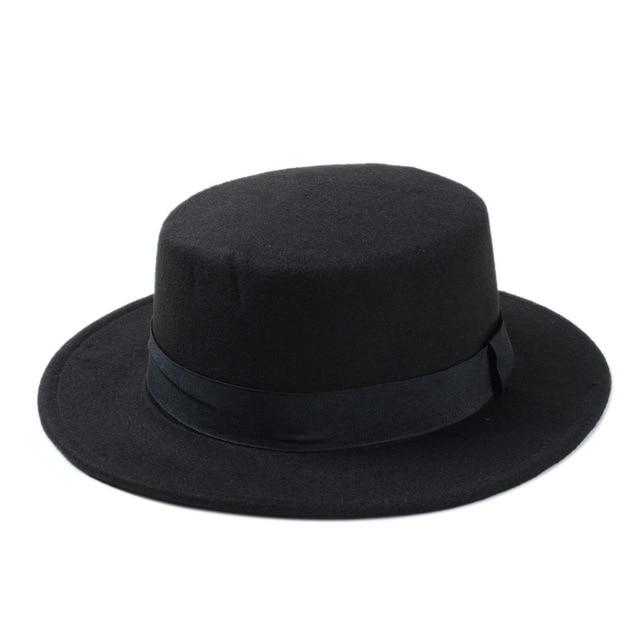 Fashion Wool Boater Flat Top Hat For Men's Felt Wide Brim Fedora Hat Gentleman Prok Pie Chapeu de Feltro Bowler Gambler Top Hat