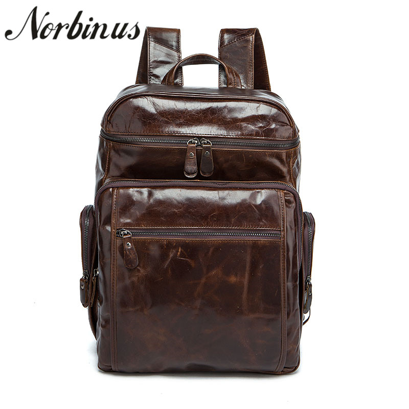 Norbinus Men' Backpack Genuine Leather Computer Laptop Bag Large Capacity Male Travel Backpack School Bag for Teenager Boys genuine leather backpack euro style men fashion school bags for teenager travel bag high quality large capacity leather backpack