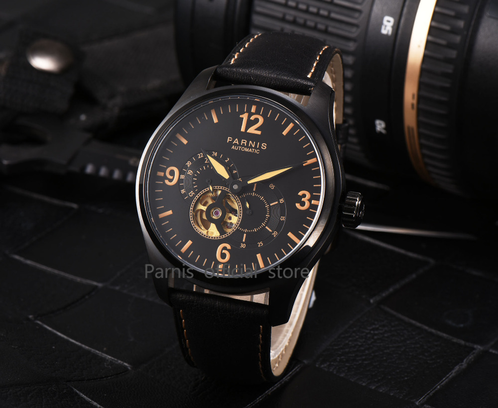 2017 Newly Issue Parnis Watches Men Skeletons Luminous Leather 12/24 - Relojes para hombres - foto 5