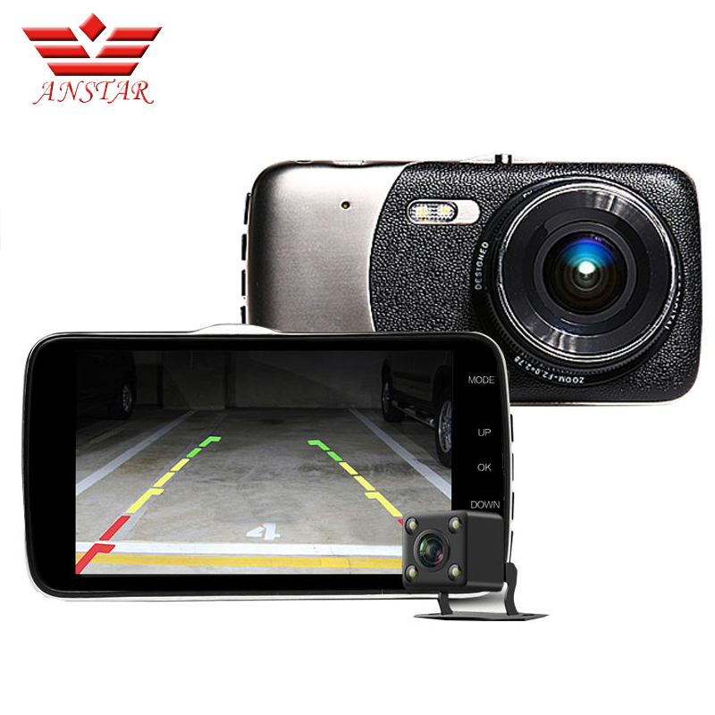 Anstar 4 inch Car Dvr Video Recorder Dashcam Dual Len Camera FHD 1080P Blackbox Dash Cam Vehicle Camera Auto Camcorder