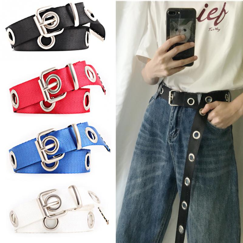 1PC Women Students Jean Canvas Waist Belts Silver Pin Buckle Waistband Fashion Long Personality Casual Metal Ring Wild Belt #5(China)