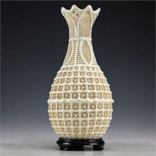 Exquisite Chinês Dehua Porcelana Handwork Branco Oca-out Vaso Do Vintage