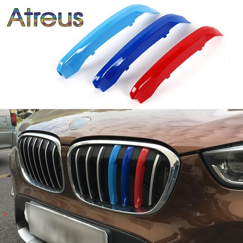 Atreus 3pcs Car Front Grille Trim Sport Strips Cover Stickers For BMW X1 F48 E84 X3 F25 X5 F15 E70 X4 F26 X6 E71 F16 Accessories accessories for bmw x5 f15 2014 2016 x6 f16 2014 2017 abs rear armrest box decoration molding cover trim 2 pcs set