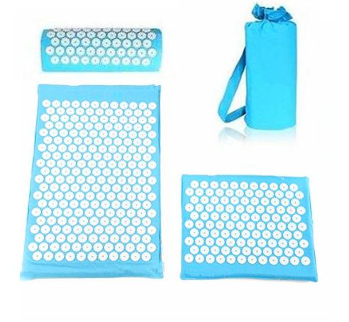 4 pcs/lot Acupressure Mat and Pillow for Back Neck Pain Relief and Muscle Relaxation Acupuncture Massage cushion with cloth Bag synthia andrews acupressure and reflexology for dummies
