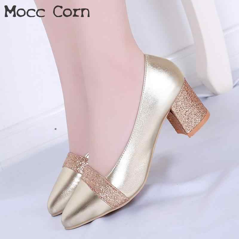 Gold Silver Women Dress Shoes High Heel Shiny Pointed Toe Square Heels Wedding  Shoes Bride Sexy 1426c105e259