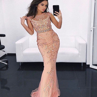 Peach Pink Mermaid Evening Gowns 2018 Plus Size Prom Dress Cap Sleeve Pearls Elegant Formal Occasion Dresses For Women OL103298B