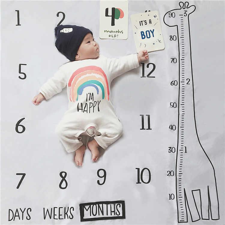 Cobertor do milestone para crianças, cobertor estampado de girafa para bebês, fundo meninos e meninas, adereços de fotos, câmera de 100cm