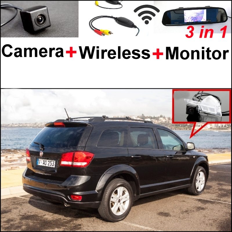 3 in1 Special Rear View Camera + Wireless Receiver + Mirror Monitor EASY DIY Backup Parking System For FIAT Freemont 2009~2014 wireless pager system 433 92mhz wireless restaurant table buzzer with monitor and watch receiver 3 display 42 call button
