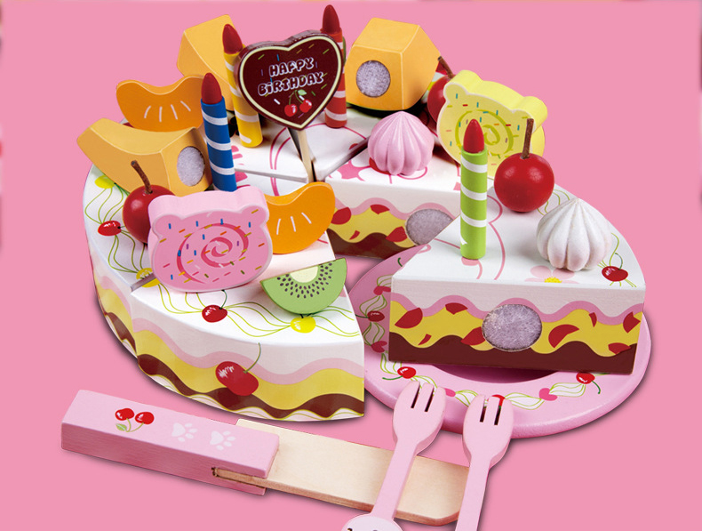 Onshine Wooden Birthday Cake DIY Model 3 font b Children b font Kids Early Educational Classic