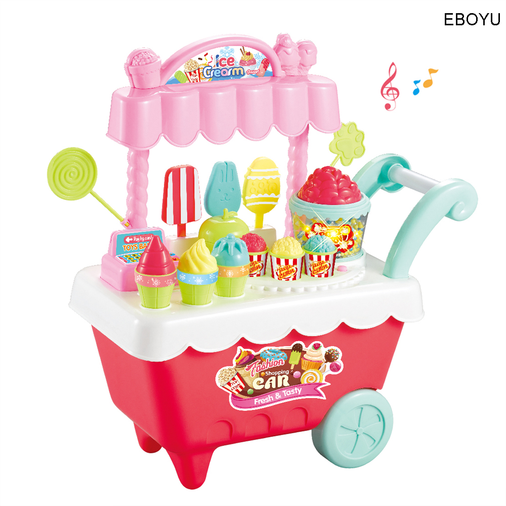 EBOYU 28pcs Big Ice Cream Cart Candy Trolley Carts Pretend Play Set for Baby Kids with Music Light Best Gift for Boys and Girls ice cream cart toy