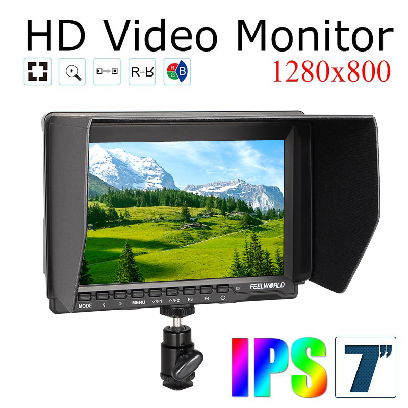 Free Shipping!Quality Feelworld FW759 DV Camera On Field Monitor 7'' Slim HD IPS 1280x800 HDMI 1080p Parking Filter Wire Control