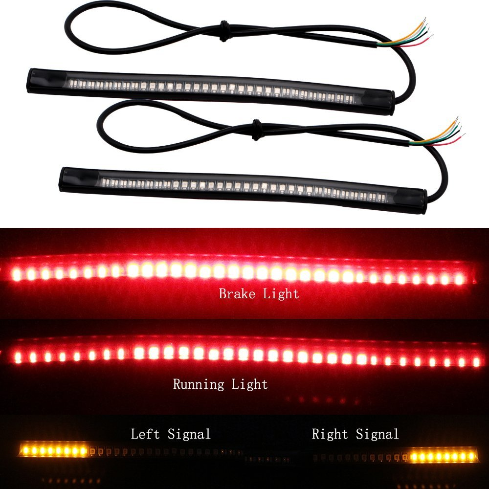 48LED Flexible Motorcycle License Plate Light Red And Amber Tail Brake Stop Turn Signal Lamp With 50CM Cable Wire yellow and red