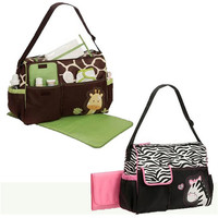 Cute Giraffe Zebra Multi Function Baby Diaper Nappy Changing Organizer Bag Changing Mat Mummy Tote Handbag