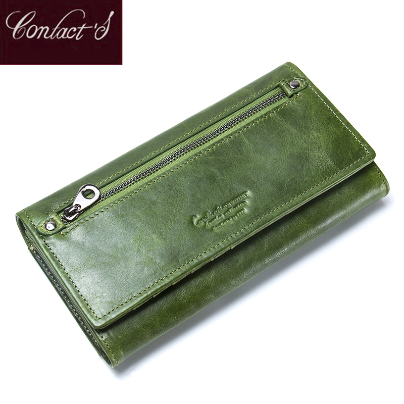 Contact's Genuine Leather Women Wallets Female Long Clutch Photo Holder Wallet Large Capacity Purses With Money Phone Bags large capacity women wallet leather card coin holder money clip long clutch phone wristlet trifold zipper cash female purse