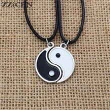 Colar de couro pu para homens e mulheres, pingente vintage de esmalte tai chi yin yang, 1 par de casais joias,