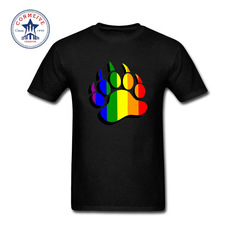 2017 Gay Pride Bear claw rainbow flag Funny Hip Hop Printed Funny Cotton T Shirt for men