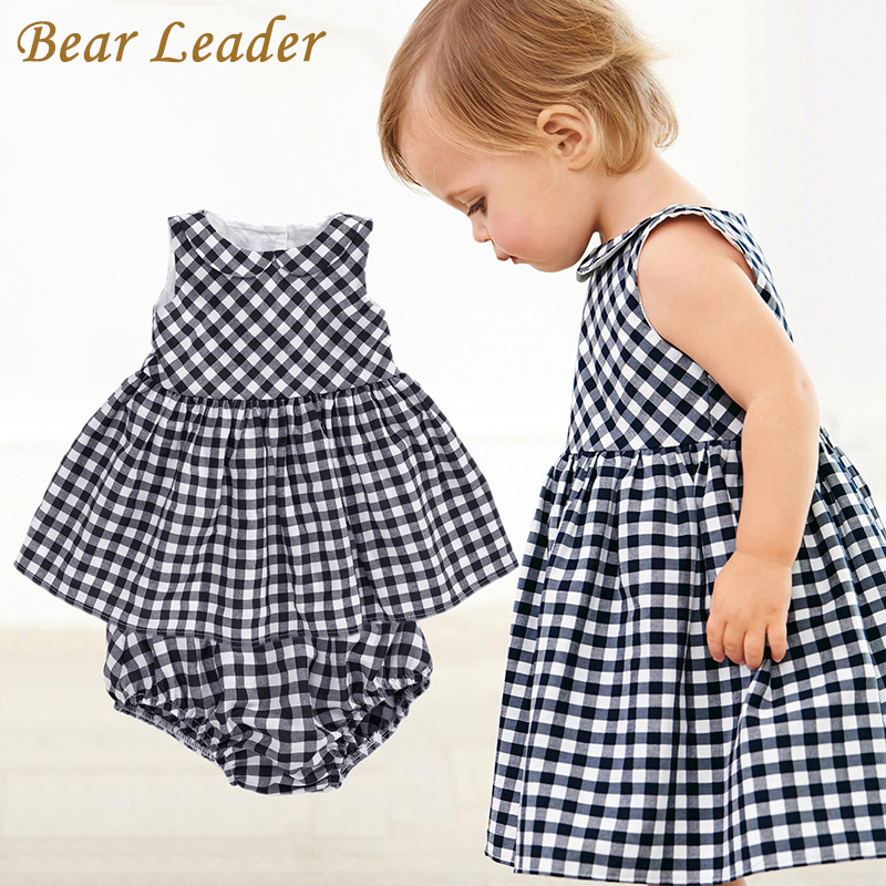 цены Bear Leader Baby Girls Dress 2018 New Casual Plaid Sleeveless Turn-down Collar Princess Dress + Plaid shorts 2pcs Clothing Sets